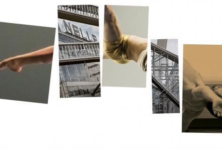 Vijf rechthoekken met daarin een deel van een menselijk lichaam afwisselend met de Van Nelle fabriek, die samen een volledig danserslichaam vormen