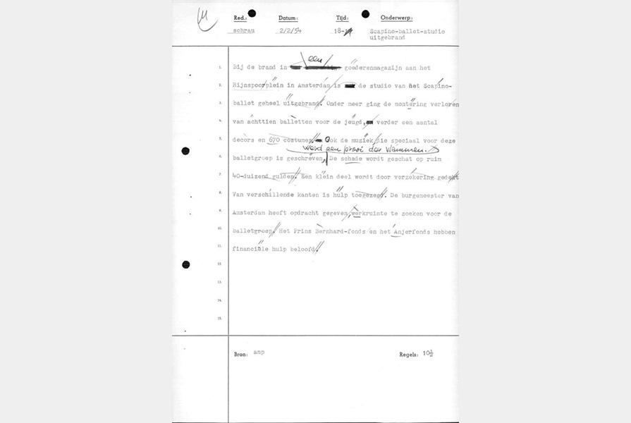 ANP Nieuwsbericht over het uitbranden van de SCapino Studios (2 februari 1954)