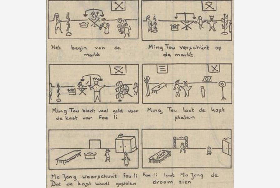 Knipsel uit Het Parool (6 mei 1950)   De kast van de oude Chinees, deel 1   getekend door Henk Högemann