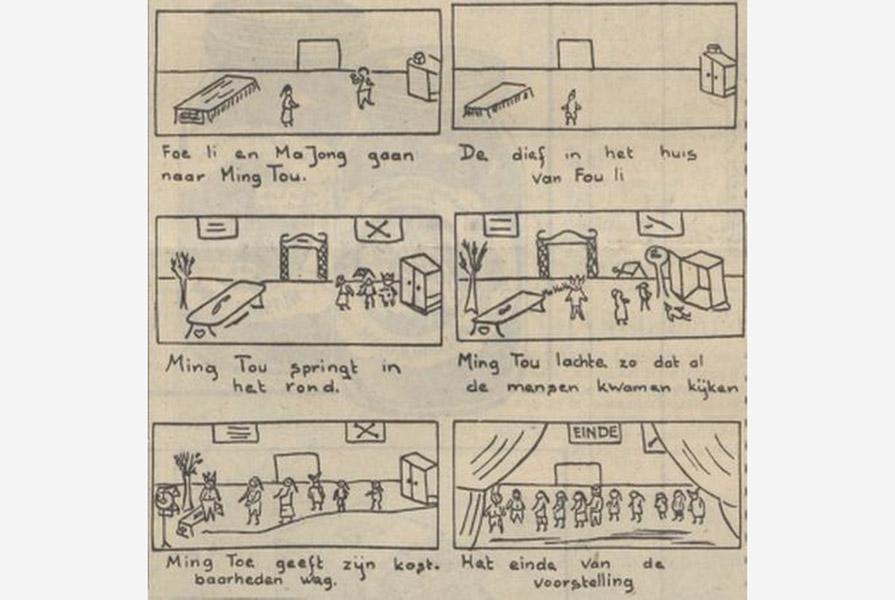 Knipsel uit Het Parool (6 mei 1950)   De kast van de oude Chinees, deel 2   getekend door Henk Högemann