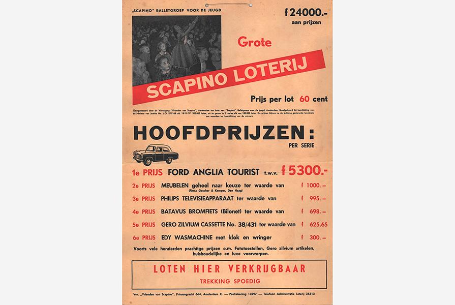 Affiche voor de grote Scapino Loterij in 1954