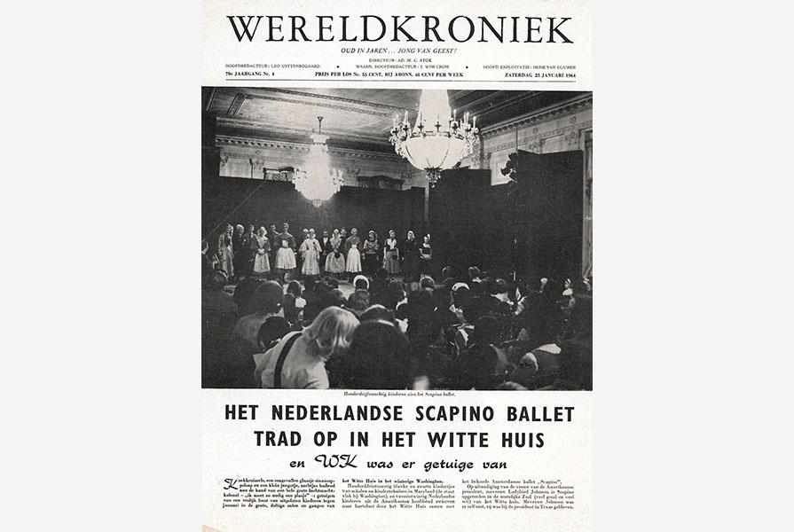 """Voorpagina van Wereldkroniek """"Het Nederlandse Scapino Ballet trad op in het Witte Huis"""""""