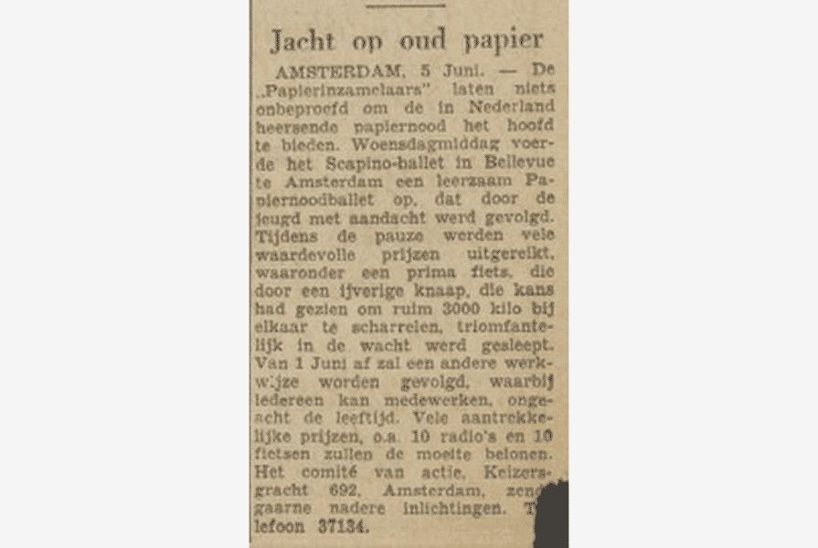 Knipsel uit de Volkskrant (6 juni 1947)   Auteur onbekend